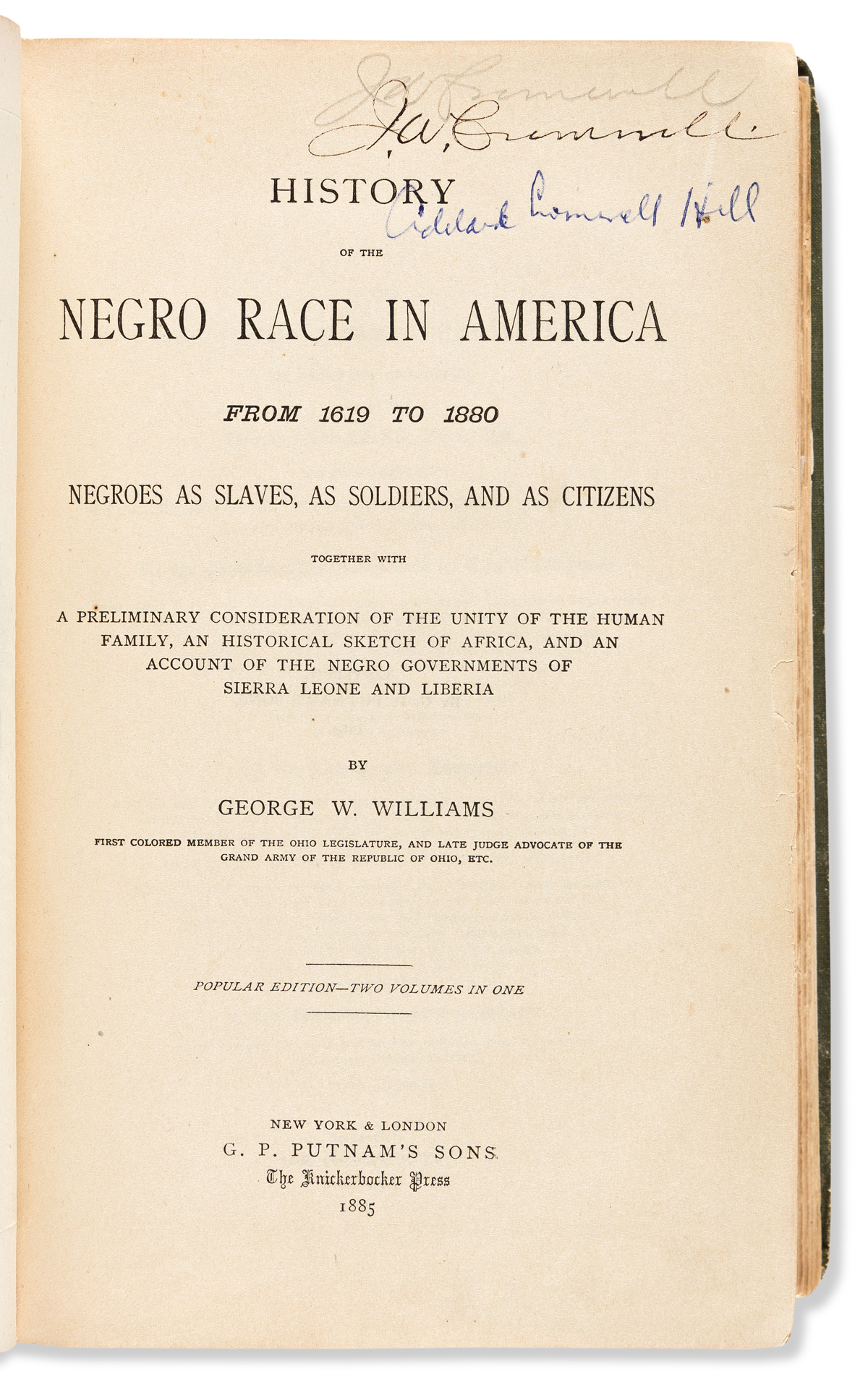 (CROMWELL LIBRARY.) George Washington Williams. History of the Negro Race in America.