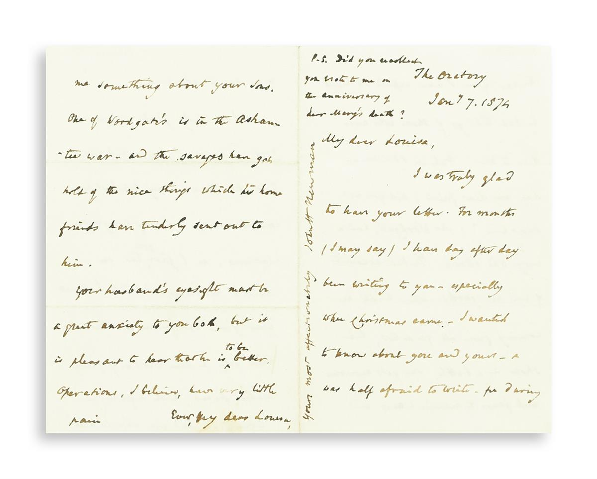 NEWMAN-JOHN-HENRY;-CARDINAL-Two-Autograph-Letters-Signed-Joh