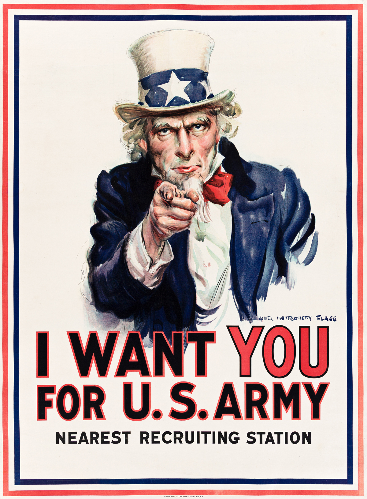 JAMES MONTGOMERY FLAGG (1870-1960).  I WANT YOU FOR U.S. ARMY. 1917. 40¼x29¾ inches, 102¼x75½ cm. Leslie-Judge Co., New York.