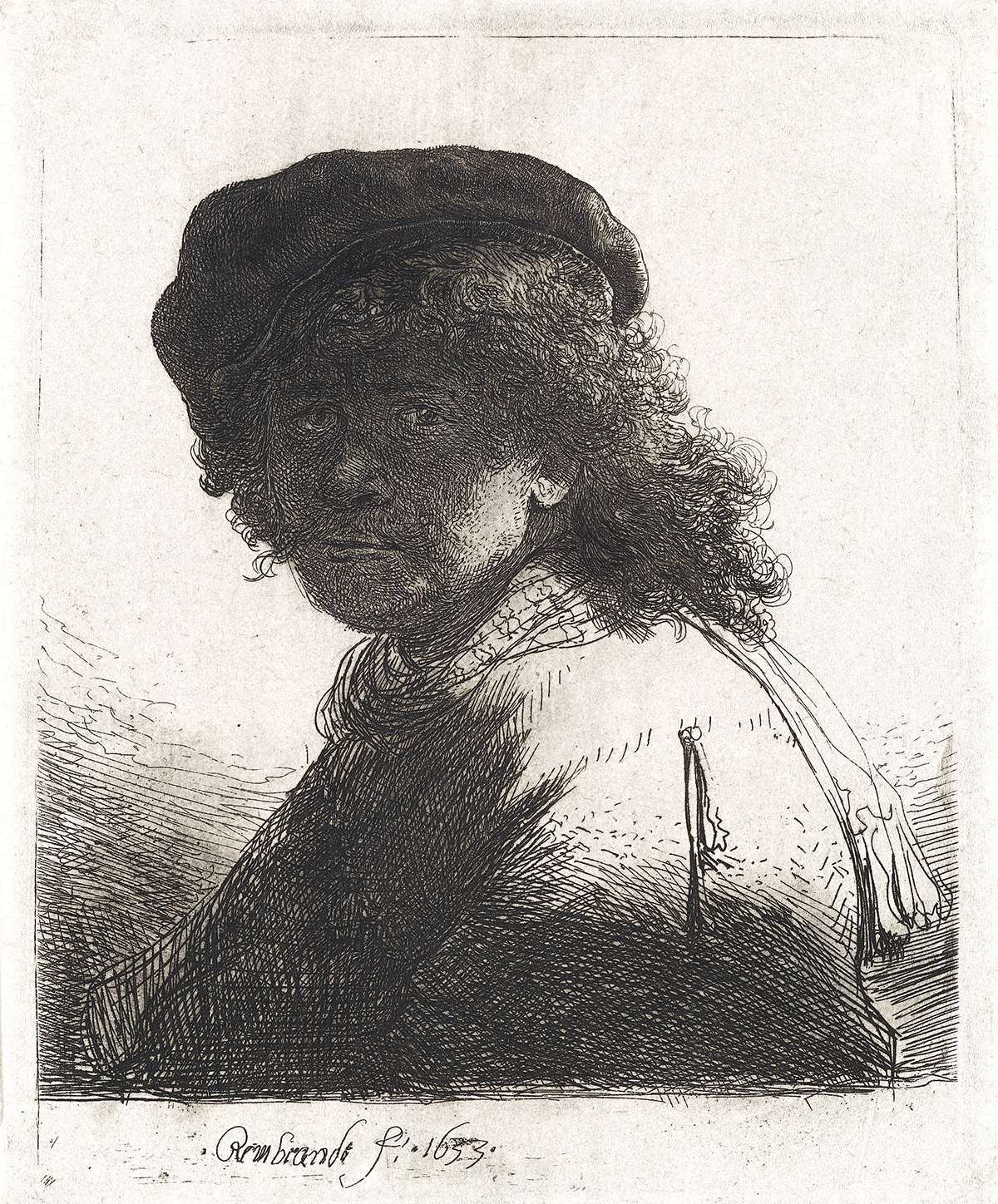 REMBRANDT-VAN-RIJN-Self-Portrait-in-a-Cap-and-Scarf-with-the