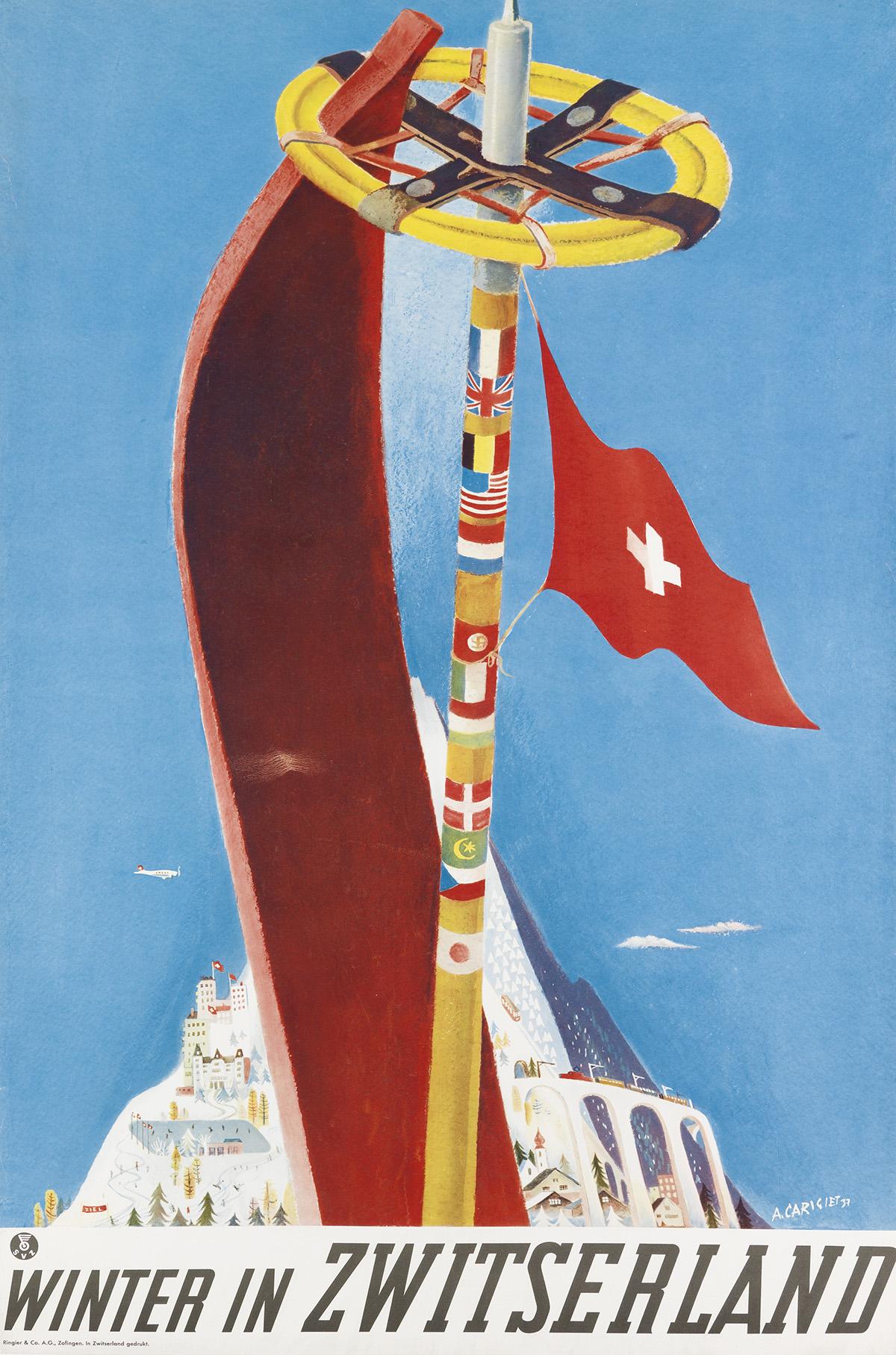 ALOIS-CARIGIET-(1902-1985)-WINTER-IN-ZWITSERLAND-1937-40x25-