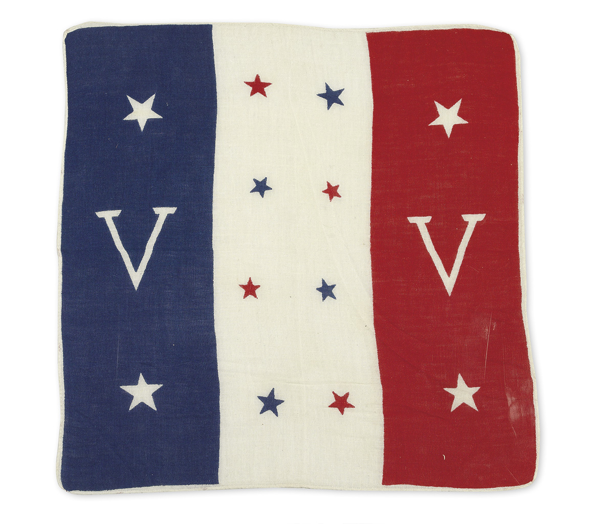 """PITTSBURGH COURIER """"DOUBLE V"""" CAMPAIGN. Double V linen flag,"""