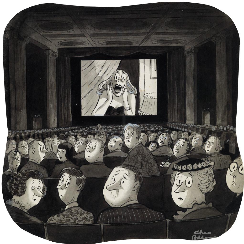 (THE NEW YORKER / CARTOONS) CHARLES ADDAMS. Movie Scream.