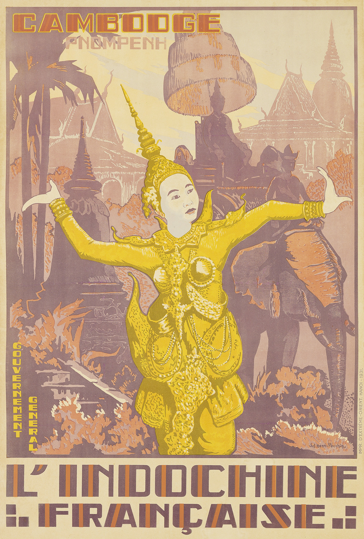 JOSEPH-HENRI-PONCHIN-(1897-1962)-CAMBODGE-PNOM-PENH--LINDOCHINE-FRANÇAISE-1931-43x29-inches-110x73-cm-DExtreme-Orient-Hanoi