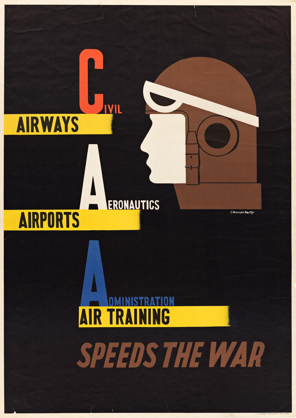 EDWARD MCKNIGHT KAUFFER (1890-1954).  CIVIL AERONAUTICS ADMINISTRATION / SPEED THE WAR. 1943. 40x28½ inches, 101½x71¼ cm. U.S. Governme