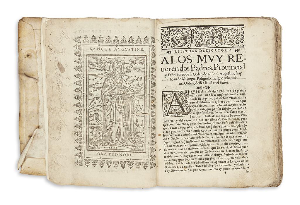 (MEXICAN IMPRINT--1607.) Mijangos, Juan de. Espeio divino en lengua mexicana.