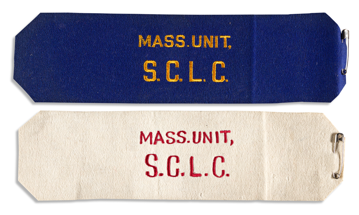 (CIVIL RIGHTS.) Pair of armbands issued to Massachusetts members of the Southern Christian Leadership Conference.