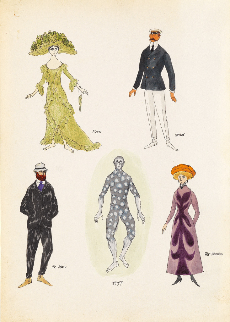 EDWARD GOREY. Five character studies from Tinned Lettuce.
