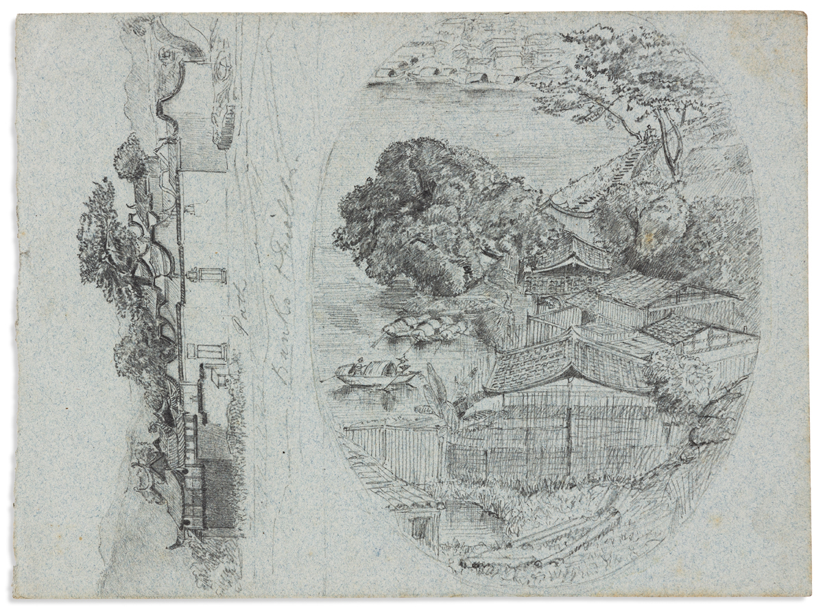 (CHINA -- FOOCHOW / FUZHOU.) Small archive comprising a manuscript map and four pencil sketches