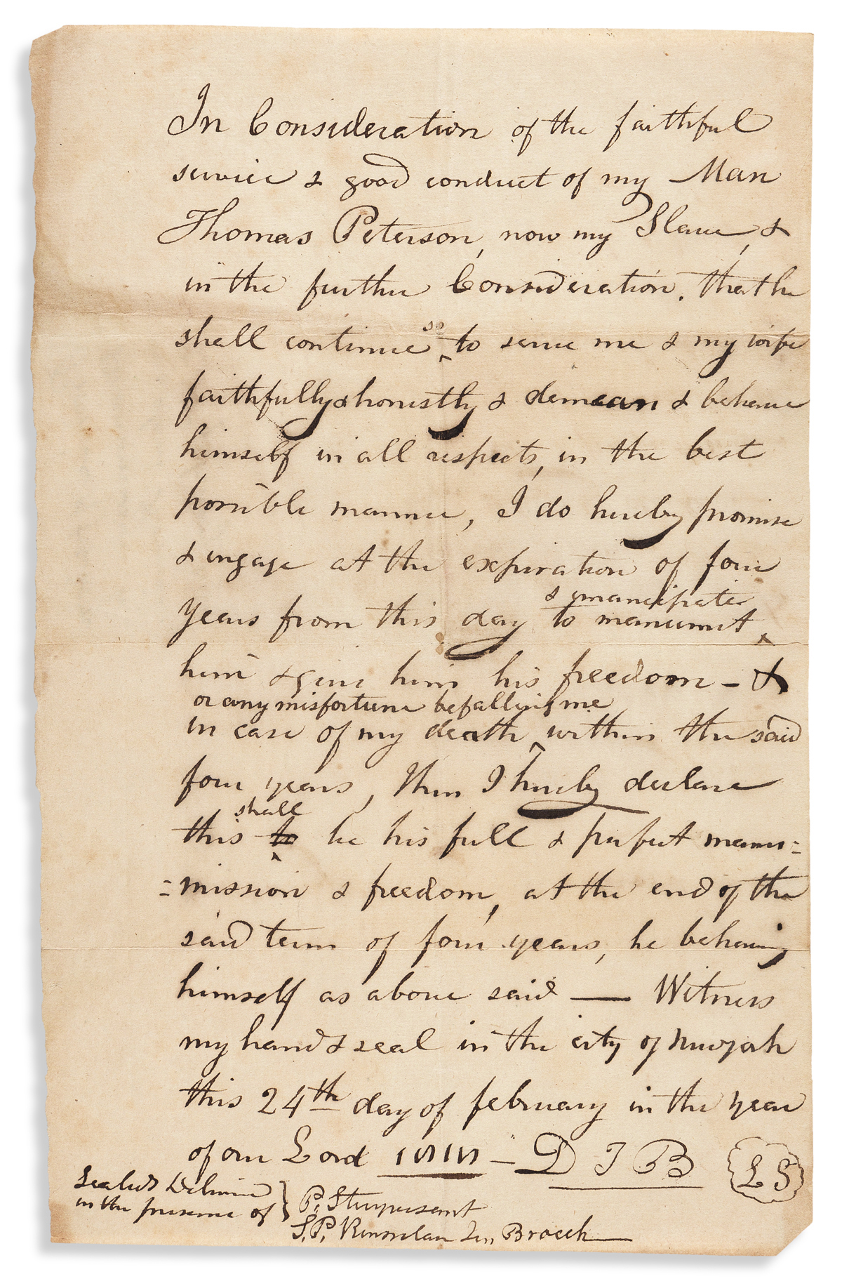 (SLAVERY AND ABOLITION.) Conditional manumission to Thomas Peterson, now my slave granted by a prominent New York politician.