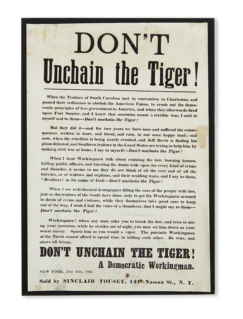 (CIVIL WAR--NEW YORK.) Dont Unchain the Tiger!