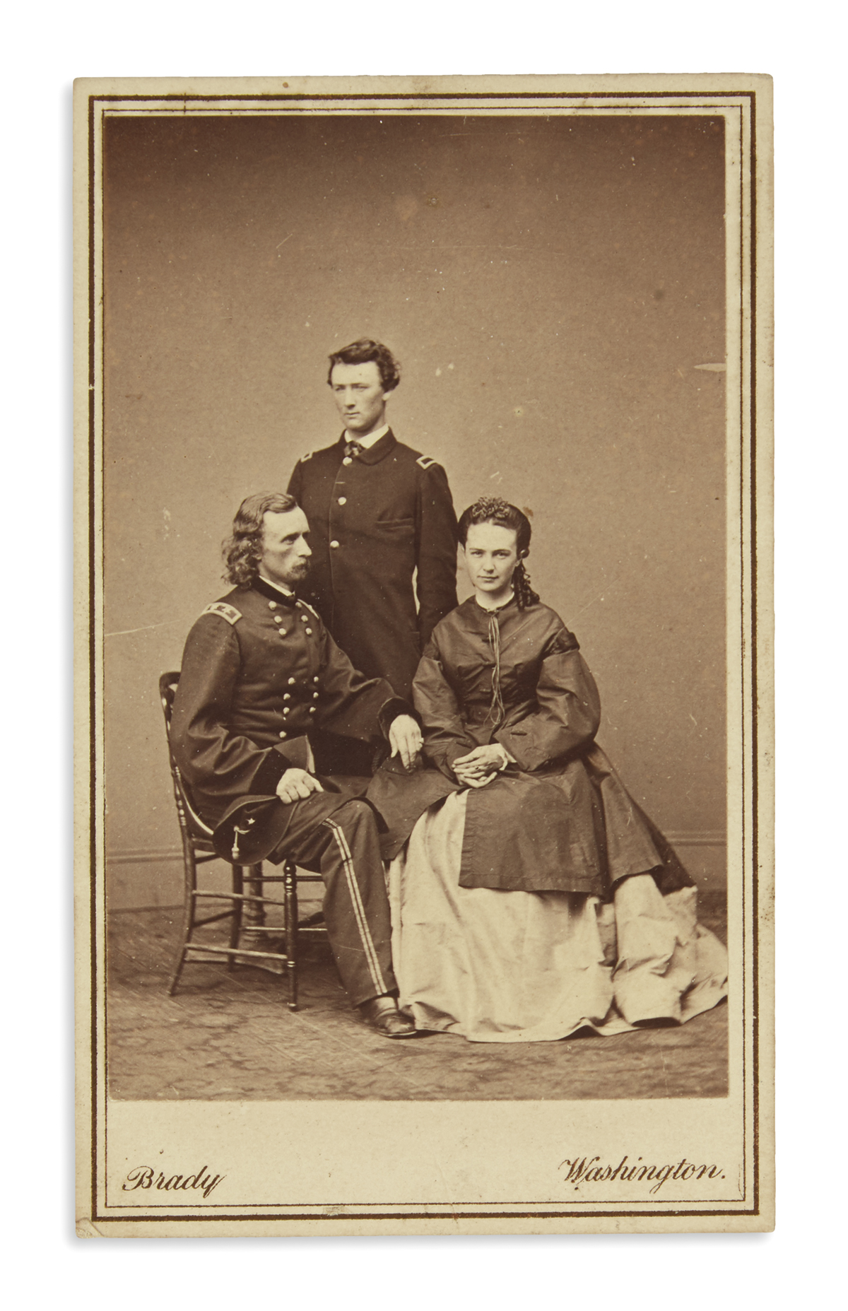 (CUSTER, GEORGE ARMSTRONG.) Carte-de-visite of Custer and family during the Civil War.