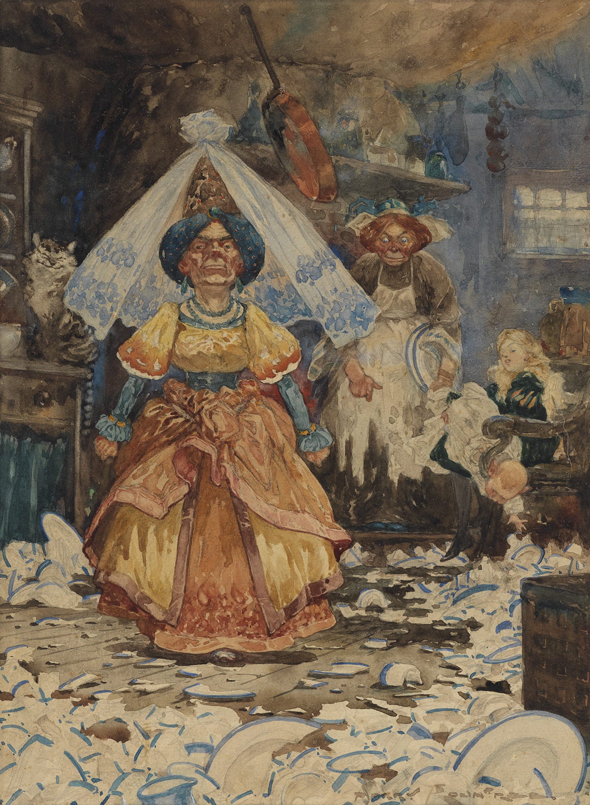 CHILDRENS ALICE IN WONDERLAND  HARRY ROUNTREE. The frying-pan just missed her.
