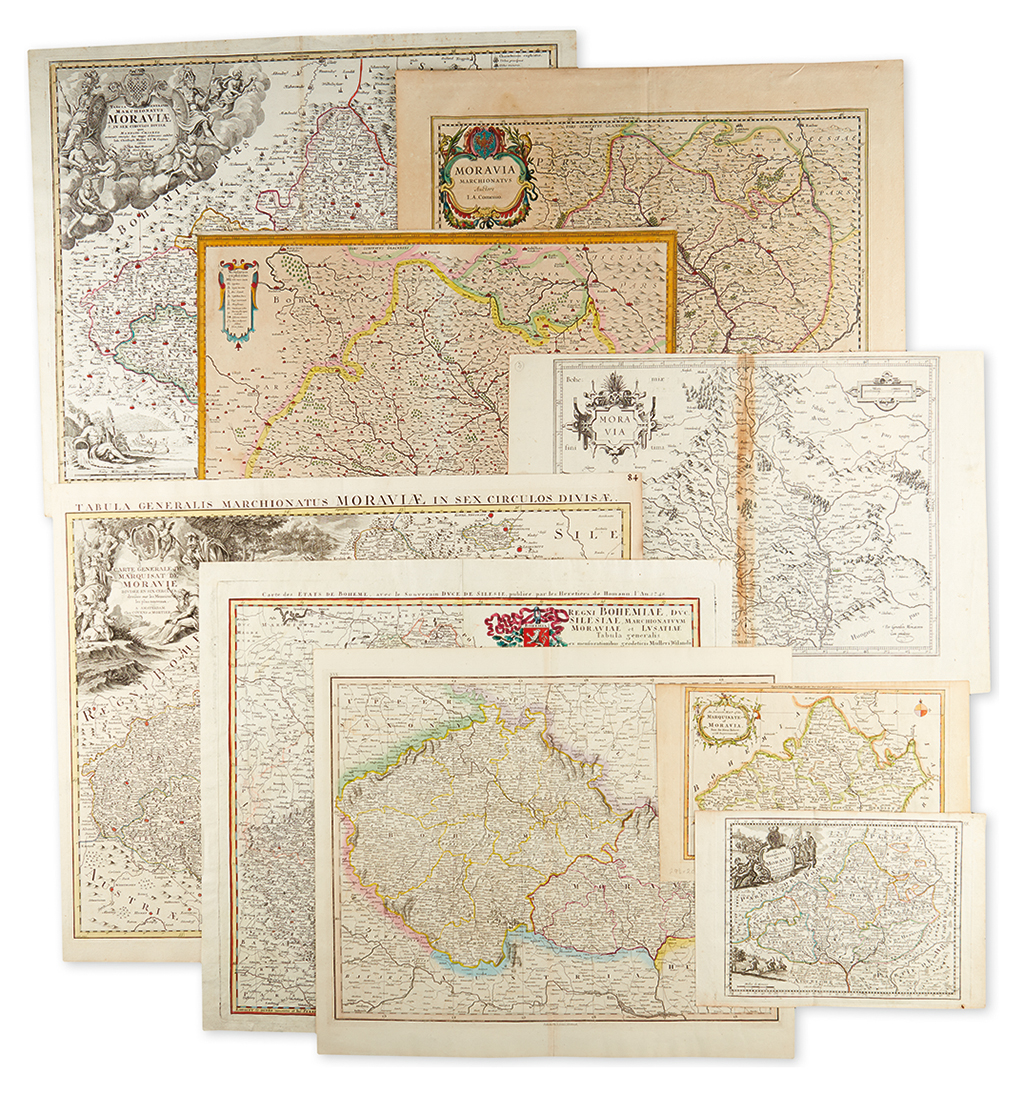 (CZECH-REPUBLIC)-Group-of-10-engraved-maps-of-Moravia