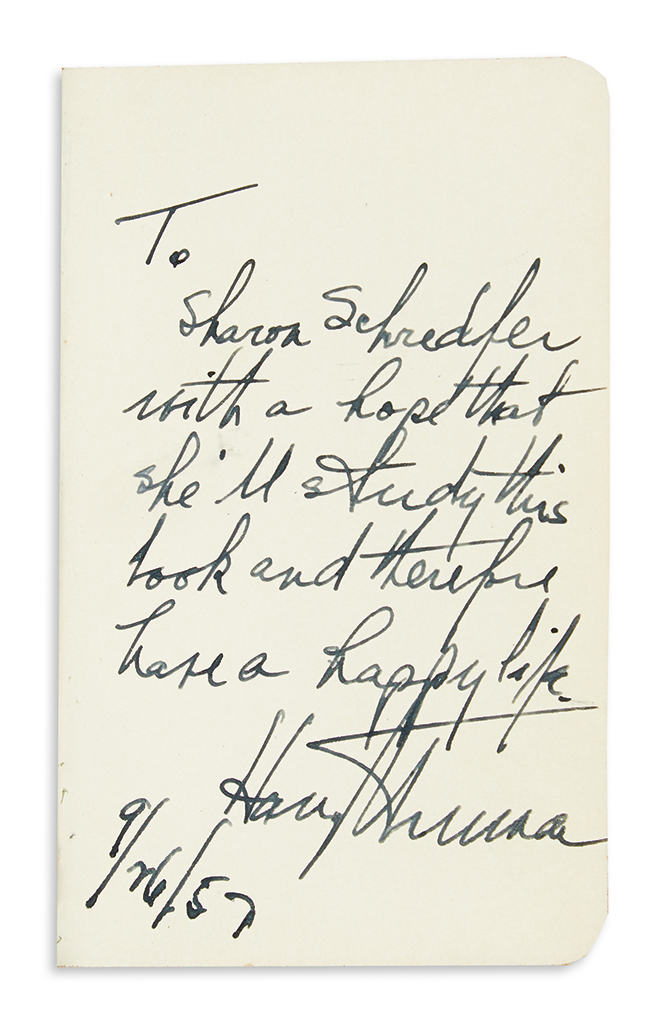 TRUMAN-HARRY-S-New-Testament-Signed-and-Inscribed-To-Scharon