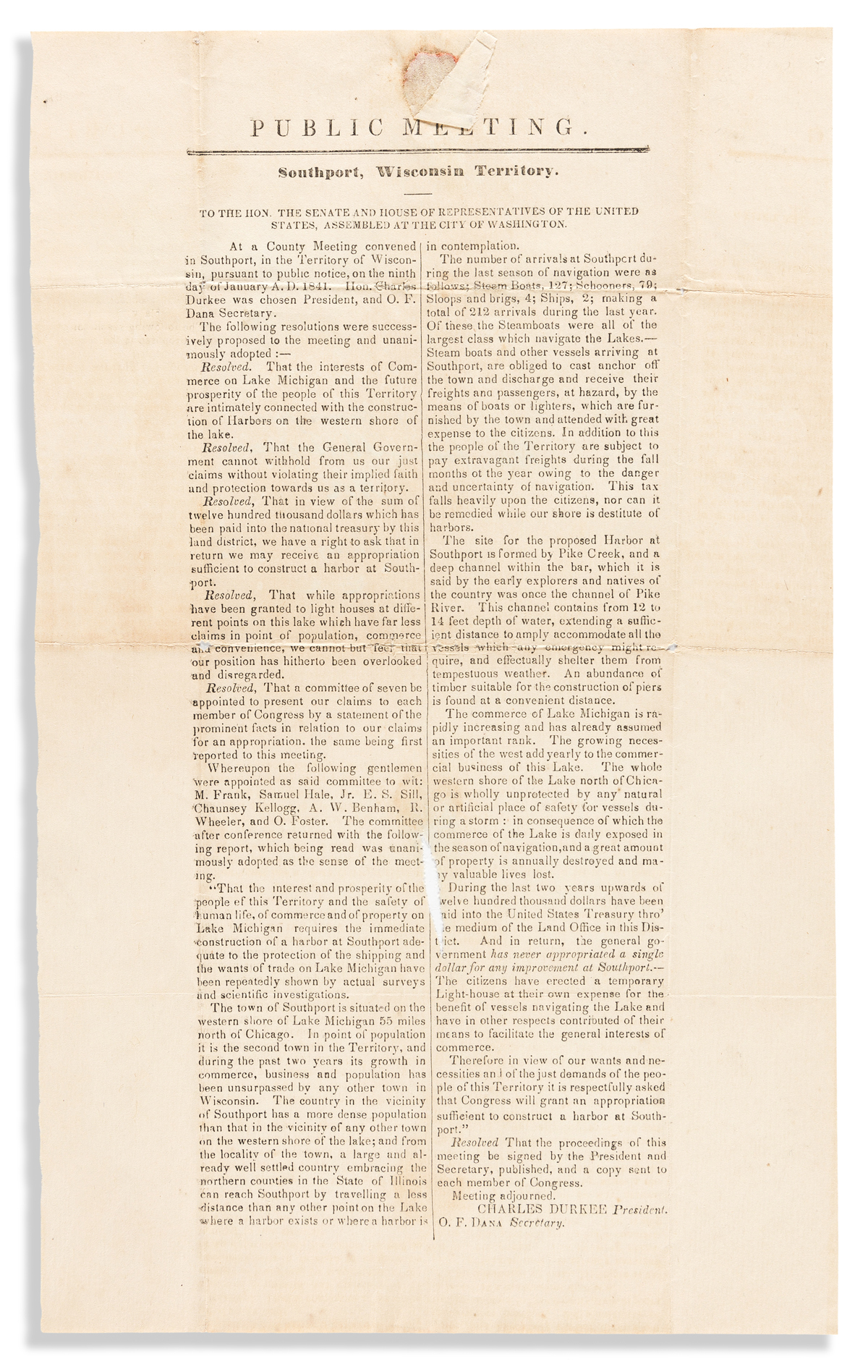 (WISCONSIN.) Broadside petition to Congress to construct a harbor at Southport (Kenosha).