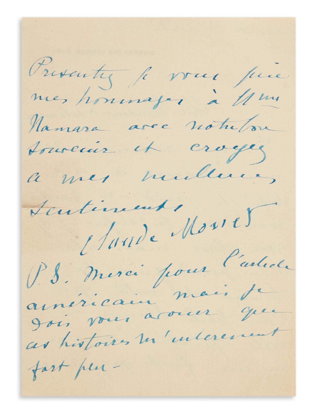MONET-CLAUDE-Autograph-Letter-Signed-to-painter-and-film-dir
