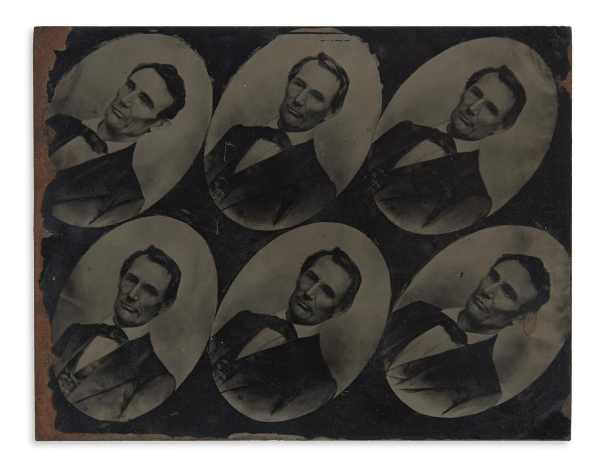 (LINCOLN, ABRAHAM.) An uncut sheet of large-format beardless Lincoln campaign tintypes.