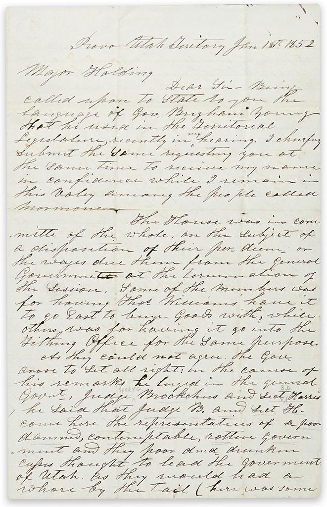 (MORMONS.) Roberts, Daniel. Letter describing Brigham Youngs public denunciation of two federal officials.