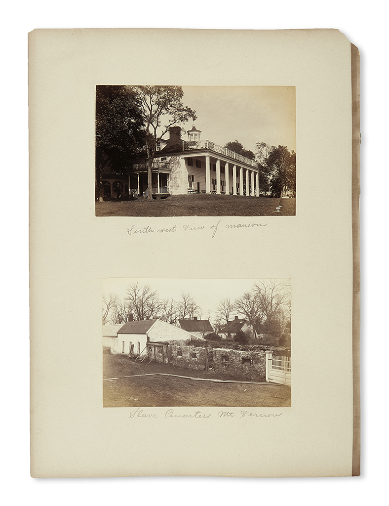 (WASHINGTON, GEORGE.) Album of professional photographs of the Mount Vernon rooms and grounds.