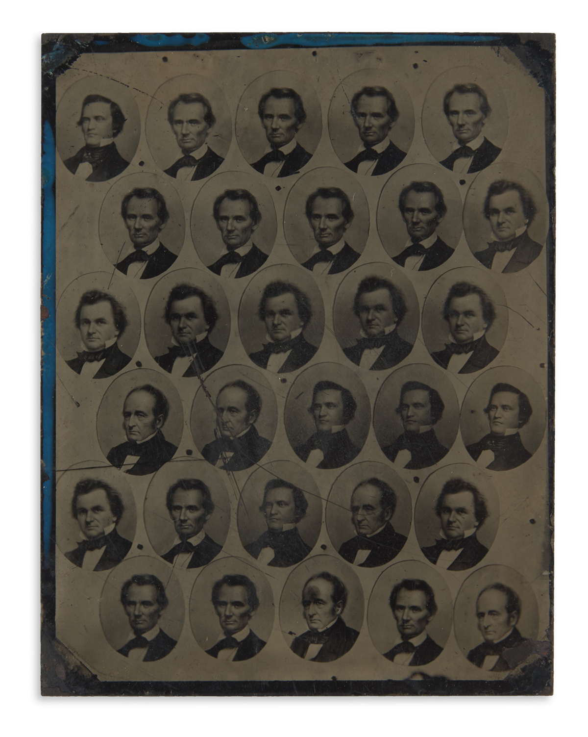 (LINCOLN-ABRAHAM)-An-uncut-tintype-sheet-of-30-miniature-cam