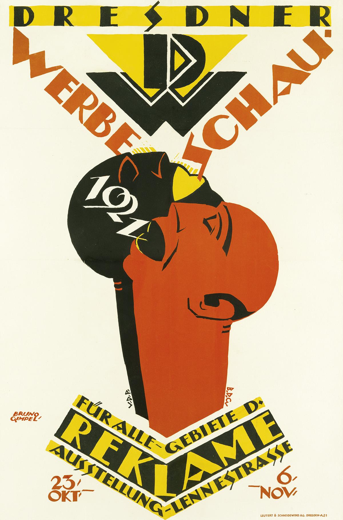 BRUNO GIMPEL (1886-1943). DRESDNER WERBE SCHAU. 1921. 35x23 inches, 90x58 cm. Leutert & Schneidewind, Dresden.