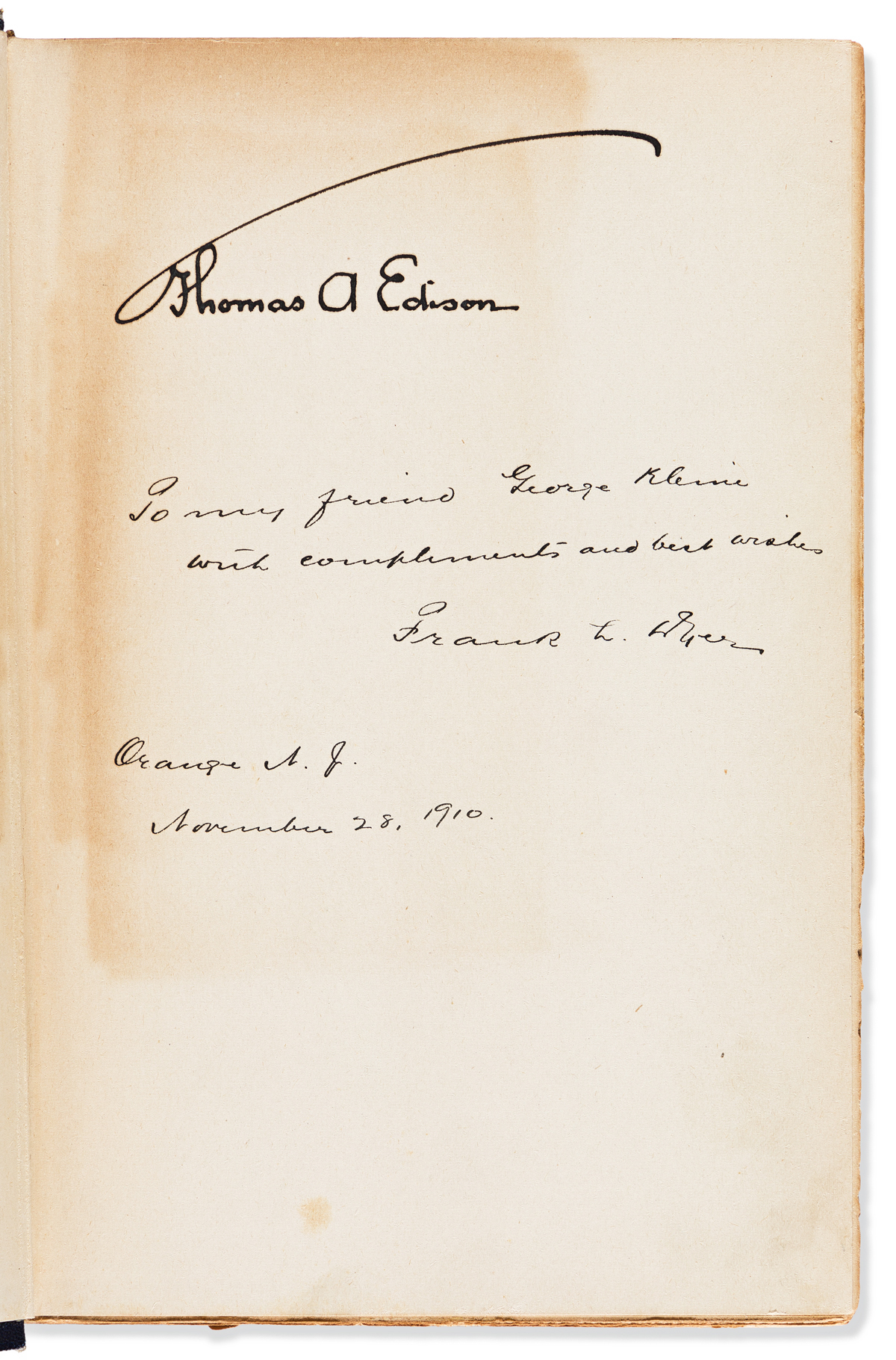 EDISON, THOMAS A. Dyer and Martin. Edison: His Life and Inventions. Signed on the front free endpaper of first volume.