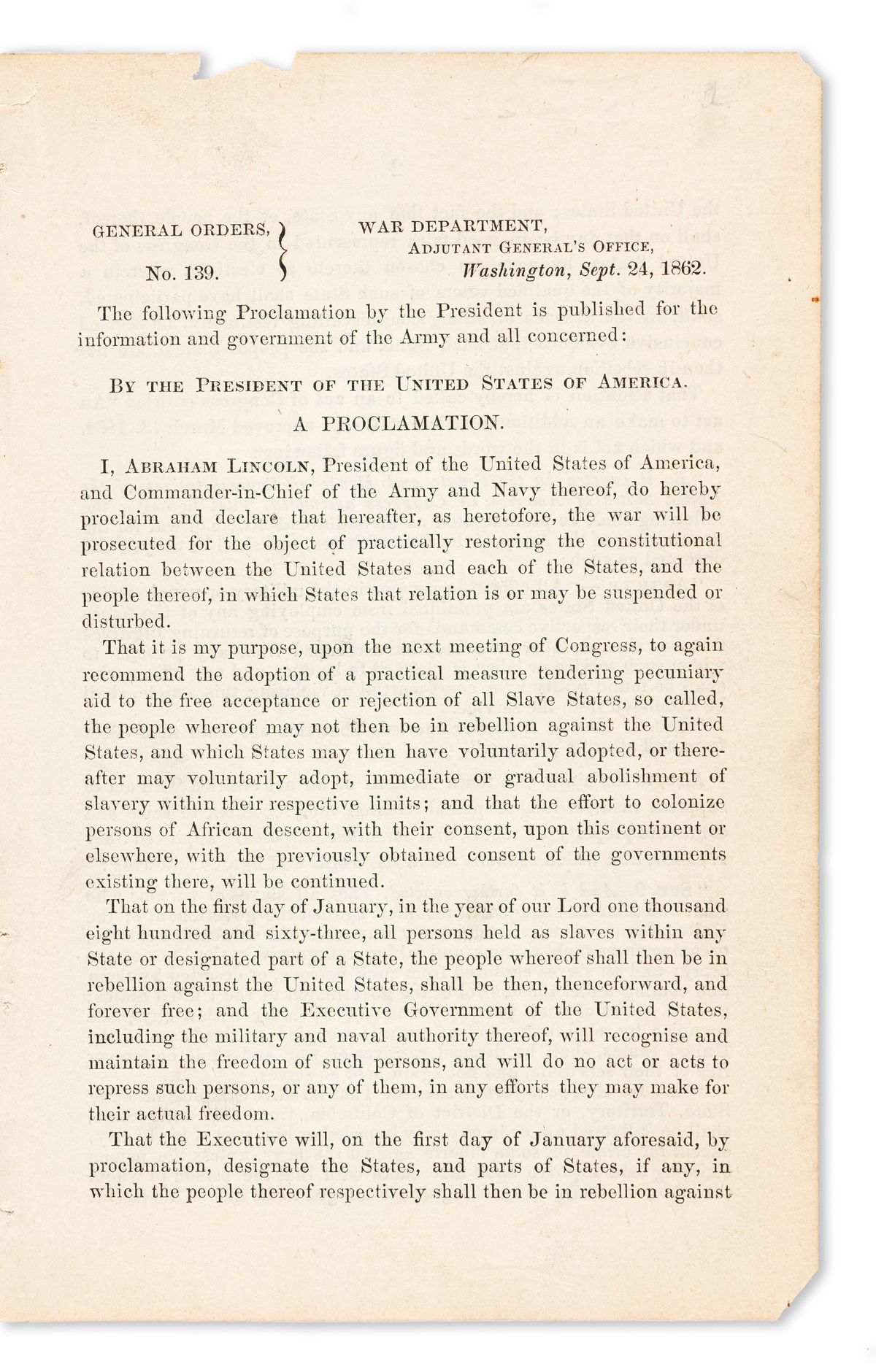 (SLAVERY AND ABOLITION.) Abraham Lincoln. The first widely disseminated printing of the Emancipation Proclamation.