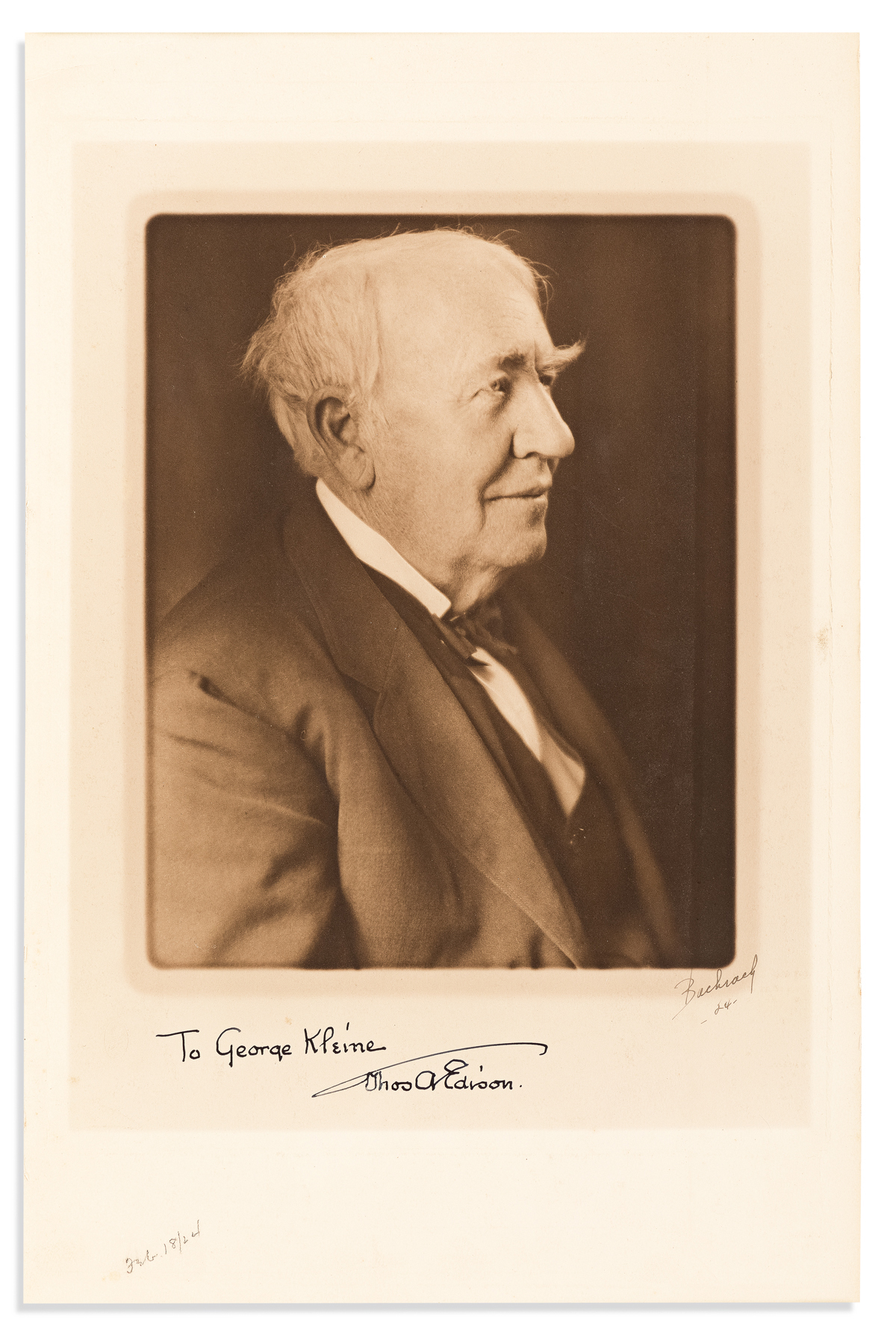EDISON, THOMAS A. Large Photograph Signed and Inscribed, to cinema pioneer George Kleine,