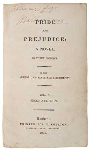 AUSTEN, JANE. Pride and Prejudice. Second Edition.  3 vols.  1813