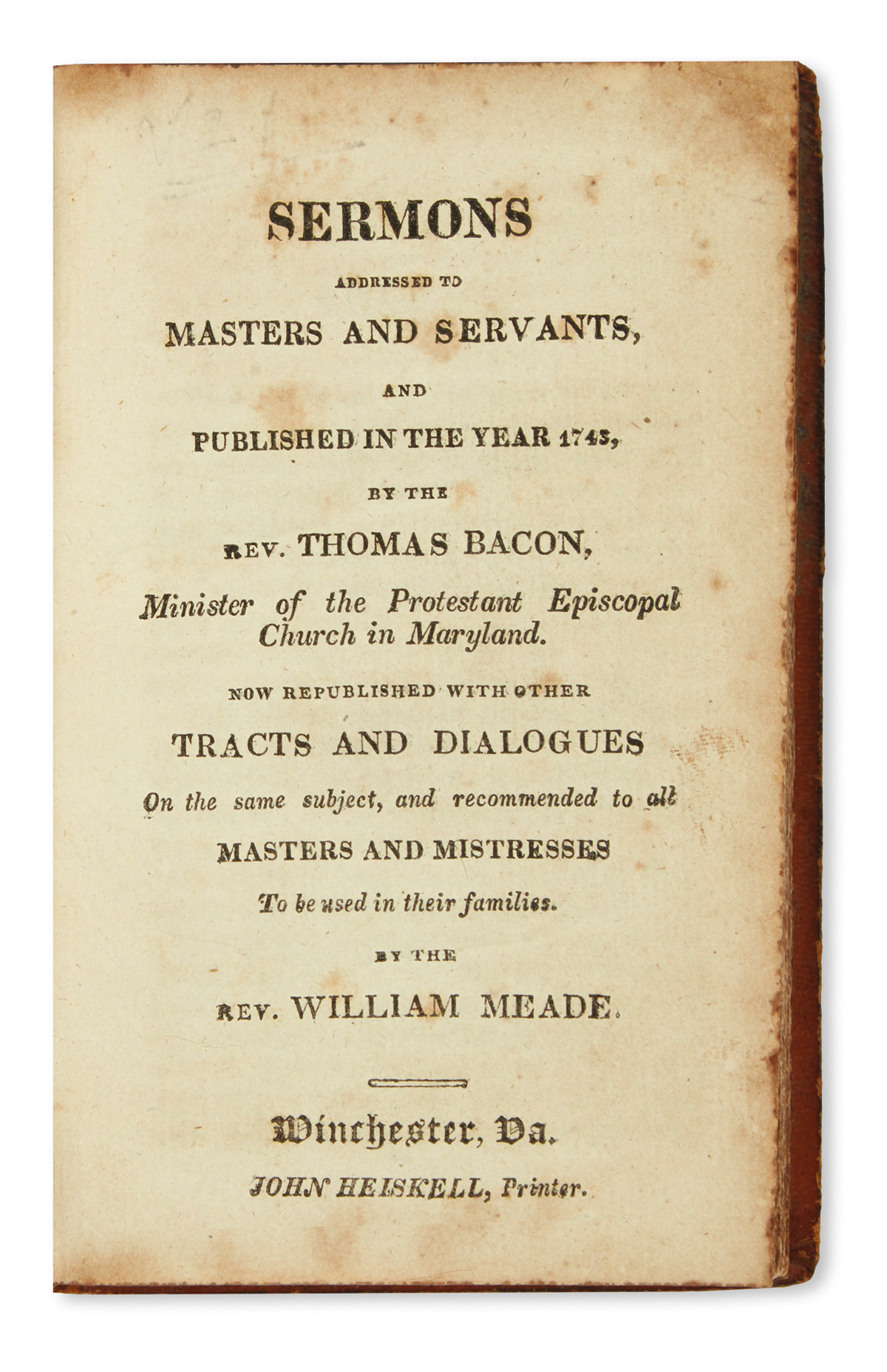 (SLAVERY & ABOLITION.) Thomas Bacon. Sermons Addressed to Masters and Servants.