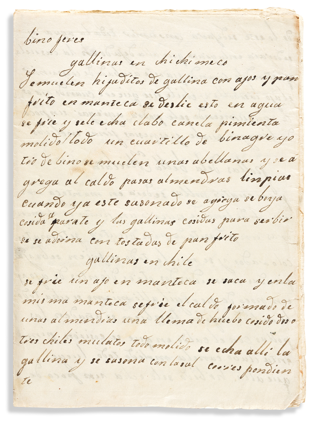 (MEXICAN COOKERY.) Group of 3 early Mexican manuscript cookbooks.