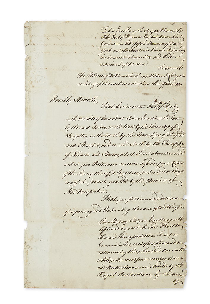 (VERMONT.) Smith, William; and William Livingston. Manuscript petition to be granted a township in Vermont.