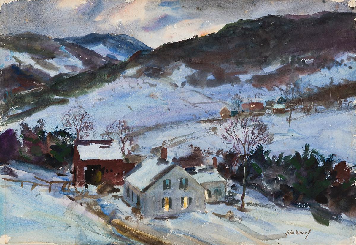JOHN-WHORF-Farm-Scene-Winter-Night--Coastal-Village-Road