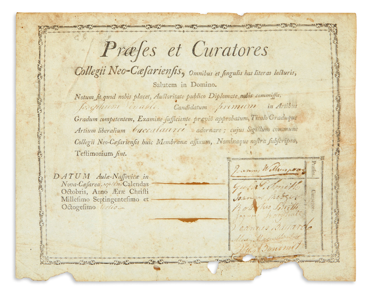 (NEW JERSEY.) Diploma from the Princeton Class of 1783, whose commencement was attended by Washington and the Continental Congress.