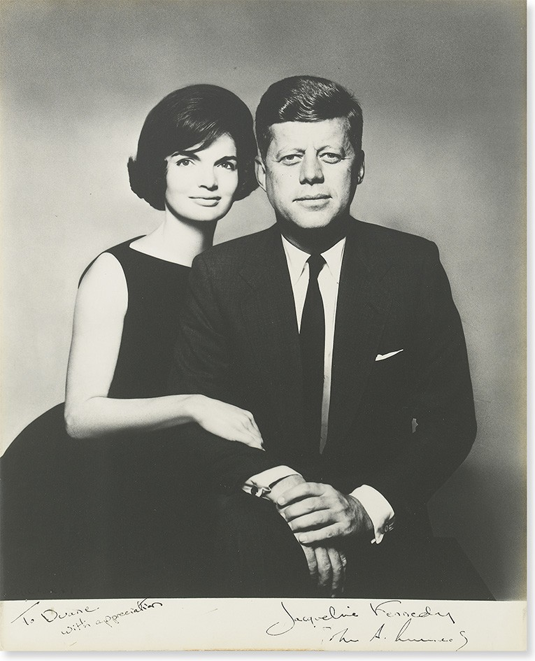 KENNEDY, JOHN F.; AND JACQUELINE. Photograph Signed, by both, as President and First Lady, additionally inscribed by Jackie, To Duane