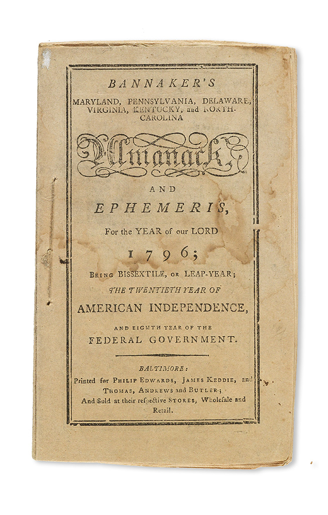 (ALMANACS.) BANNEKER, BENJAMIN. Bannakers (sic) Maryland, Pennsylvania, Delaware, Virginia, Kentucky, and North Carolina Almanack and