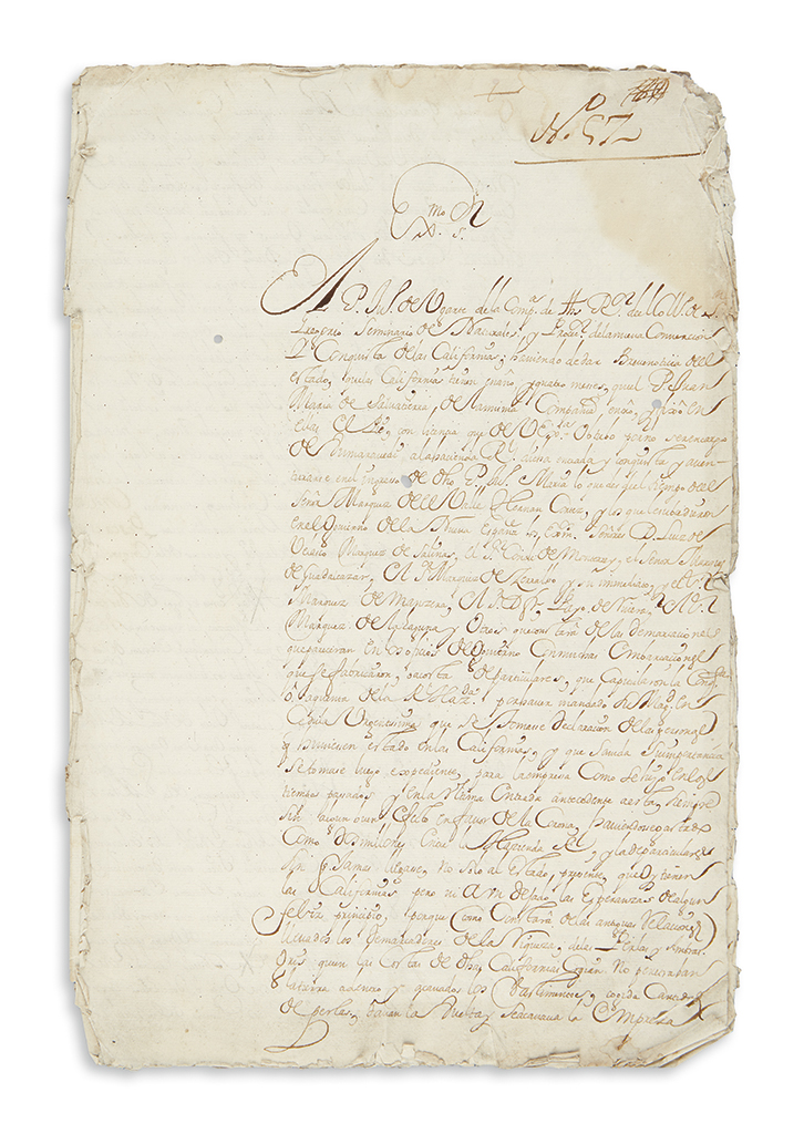 (MEXICO--BAJA CALIFORNIA.) Ugarte, Juan de. Manuscript report on the first 16 months of the California missions.