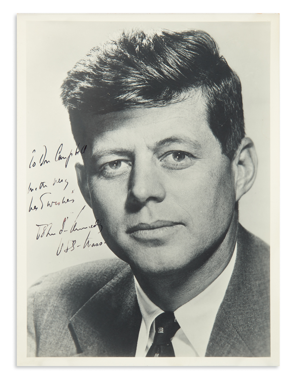 KENNEDY-JOHN-F-Photograph-Signed-and-Inscribed-as-Senator-To-Don-Campbell--with-very--best-wishes--John-F-Kennedy--USS-Mass