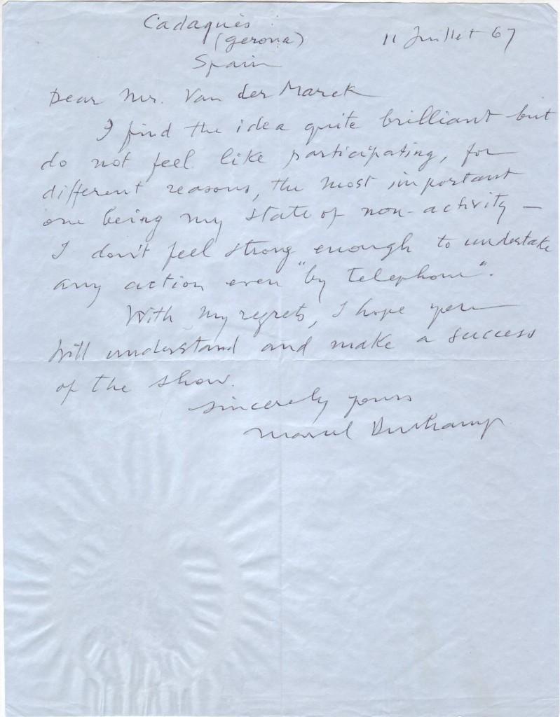 DUCHAMP, MARCEL. Autograph Letter Signed, to Chicago Museum of Contemporary Art curator Jan van der Marck,