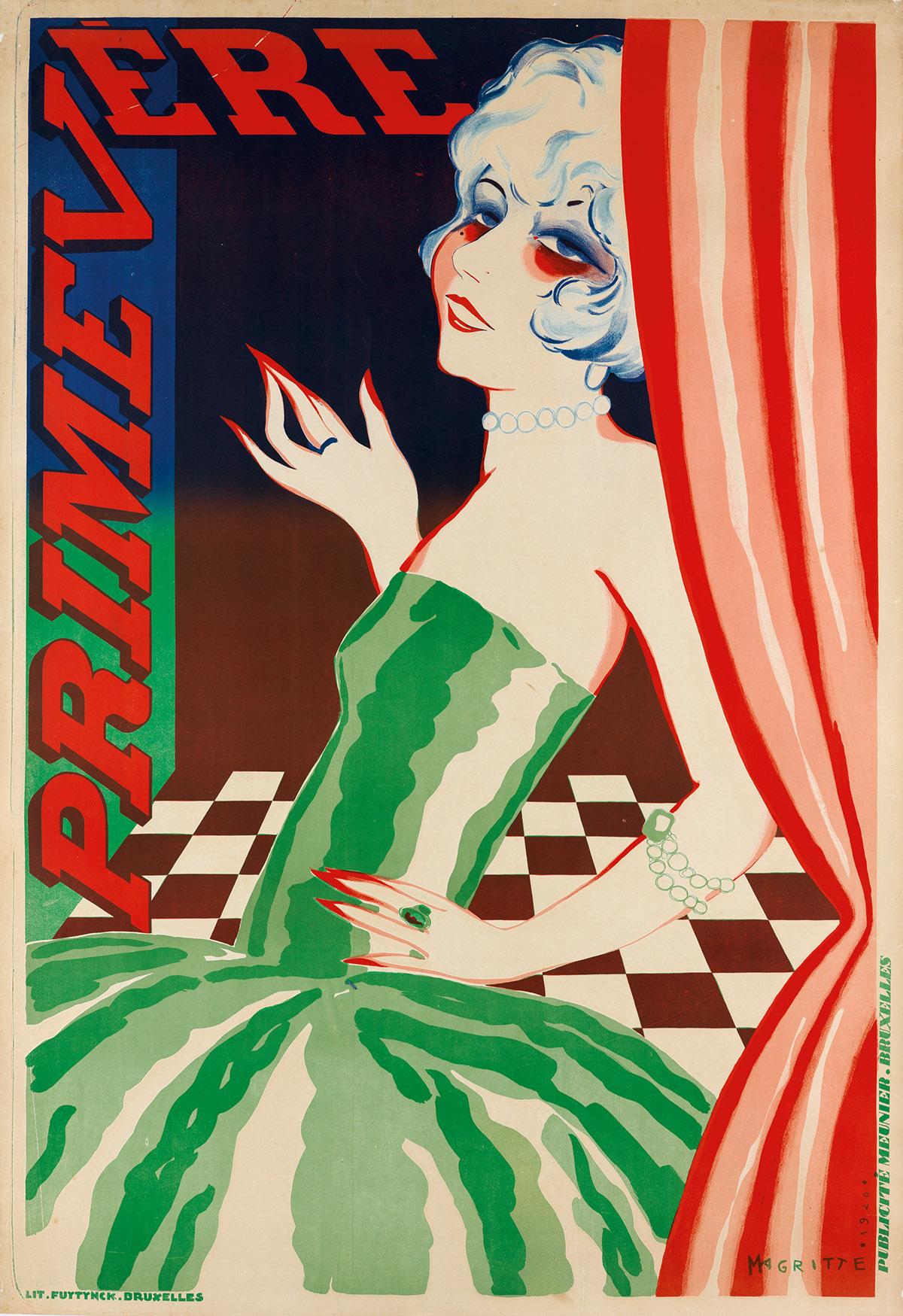 RENÉ MAGRITTE (1898-1967). PRIMEVÈRE. 1926. 48x33 inches, 123x85 cm. Meunier, Brussels.