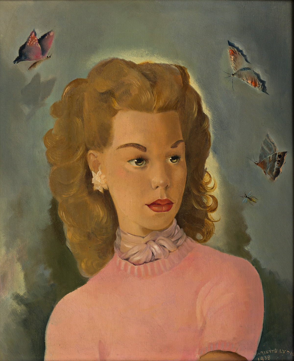 MARIETTE LYDIS (1887-1970) Portrait of a Young Woman with Butterflies.