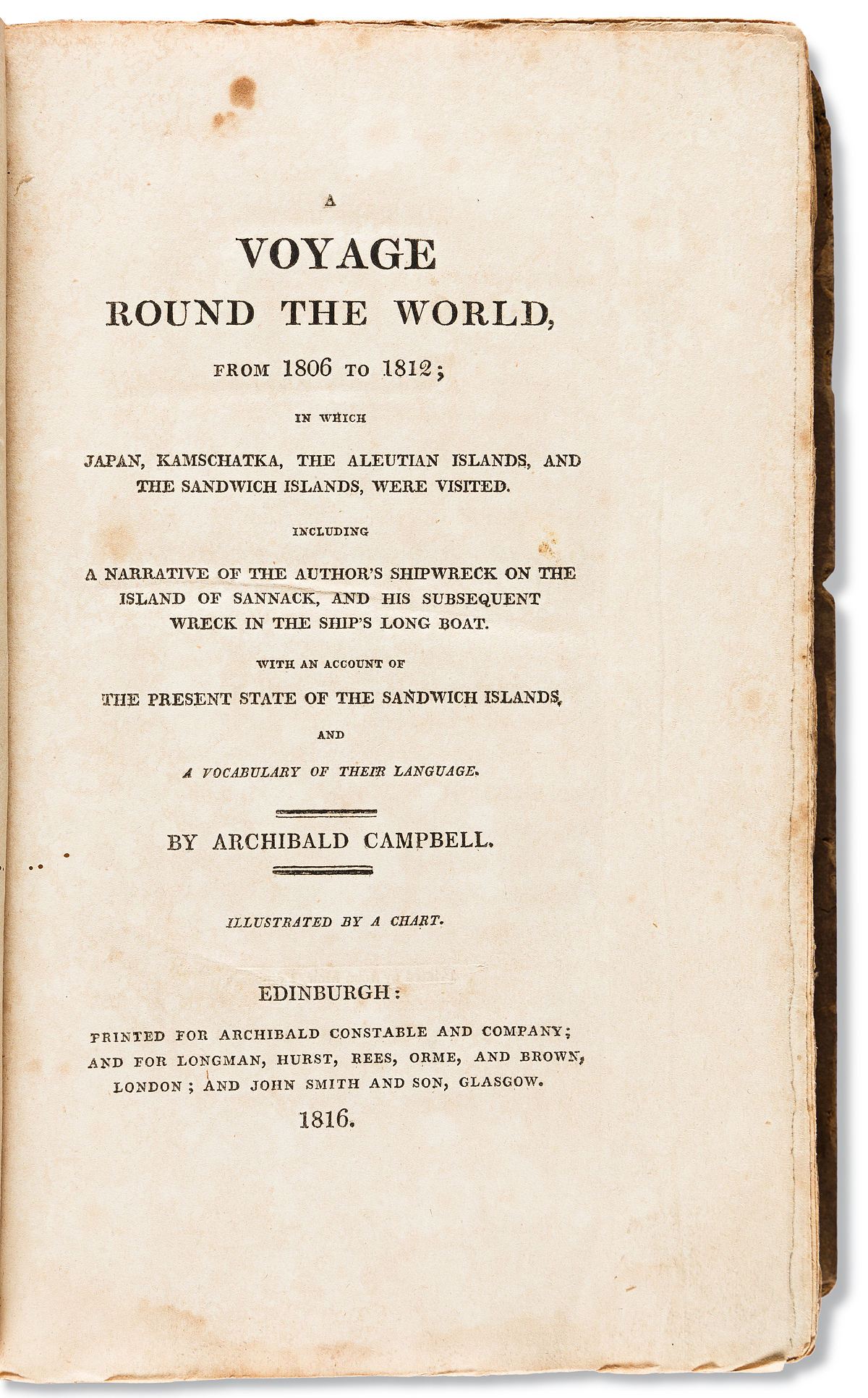 (TRAVEL.) Archibald Campbell. A Voyage Round the World . . . in which Japan, Kamschatka, the Aleutian Islands,