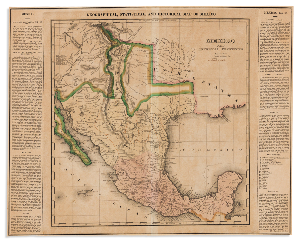 CAREY, HENRY CHARLES; and LEA, ISAAC. Geographical, Statistical, and Historical Map of Mexico.