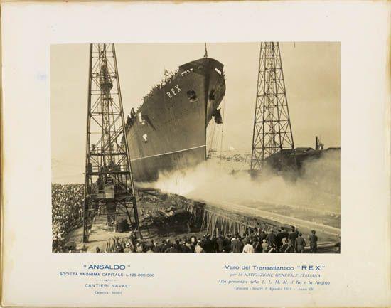 (ITALIAN LINE.) Rex. Interesting group of 8 vintage launch photographs.