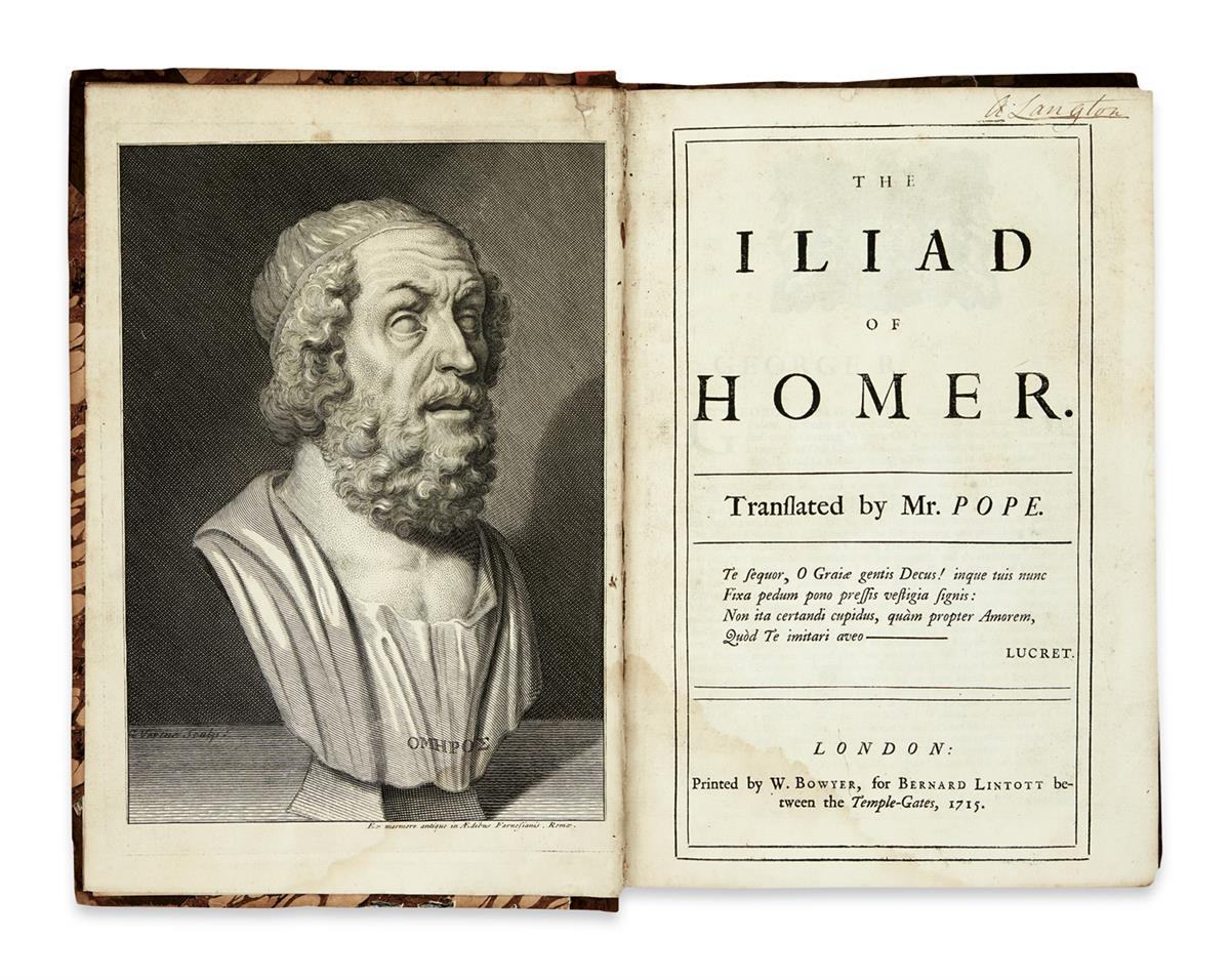 HOMER-The-Iliad----Translated-by-Mr-Pope--6-vols-in-3--1715-
