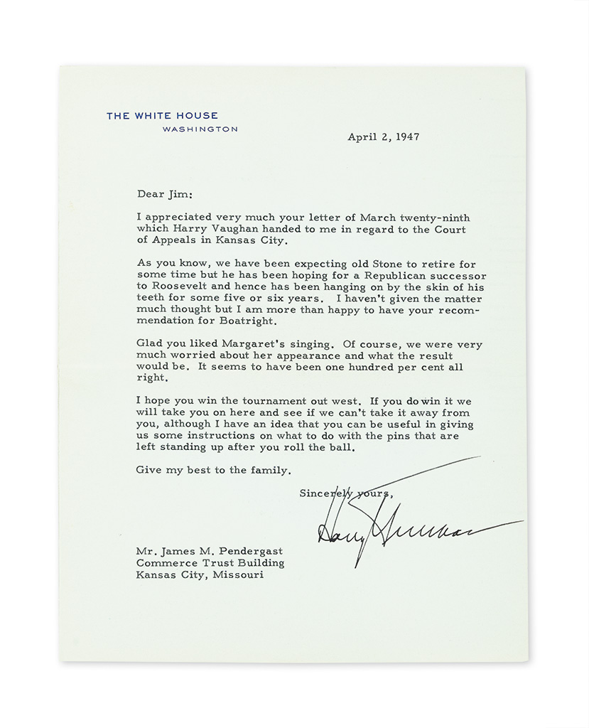 TRUMAN, HARRY S. Group of 8 Typed Letters Signed, Harry or in full, 7 as President, including 3 with holograph postscript, to James M