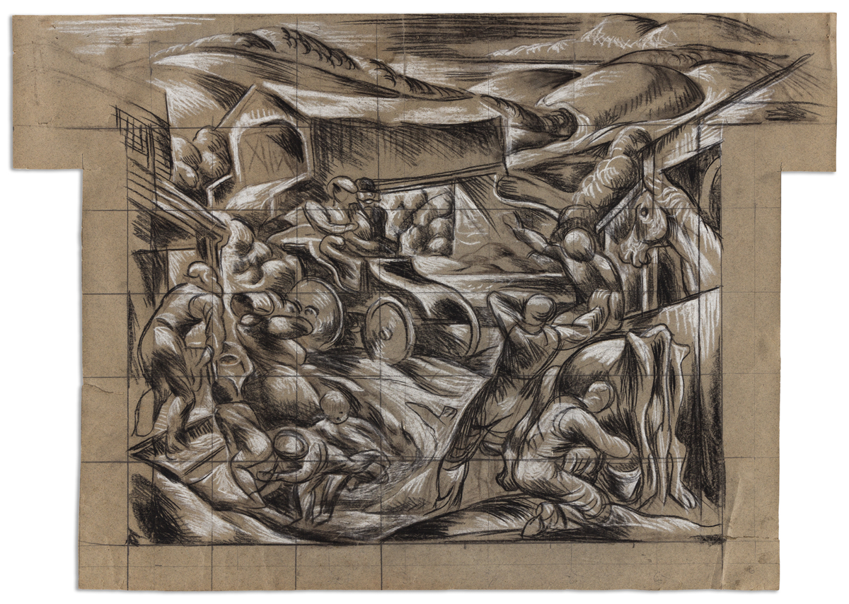JAMES DAUGHERTY, (1887 - 1974) Horseless Carriage, Study for Mural.
