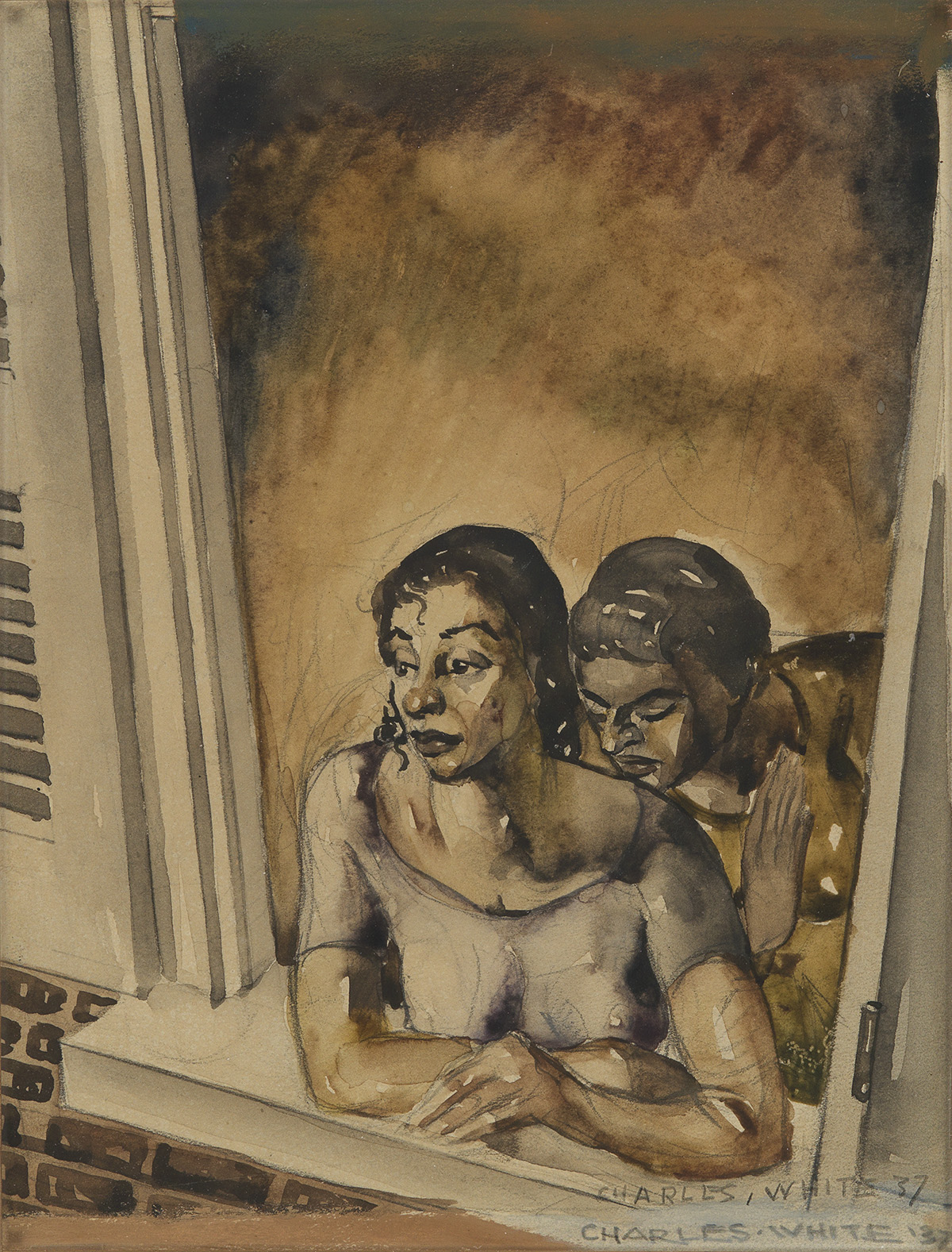 CHARLES-WHITE-(1918---1979)-Untitled-(Two-Women-at-Window)