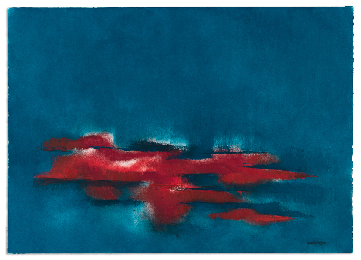 NORMAN LEWIS (1909 - 1979) Untitled (Abstraction in Red and Blue).